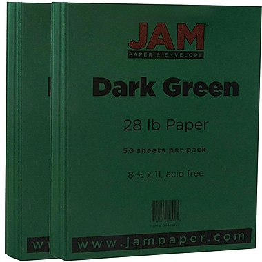JAM Paper® Matte Paper, 8.5 x 11, 28lb Dark Green, 2 packs of 50 (64429278g)