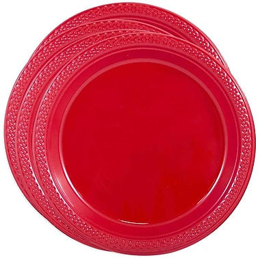 JAM Paper® Round Plastic Plates, Small, 7 Inch, Red, 4 packs of 20 (7255320666g)