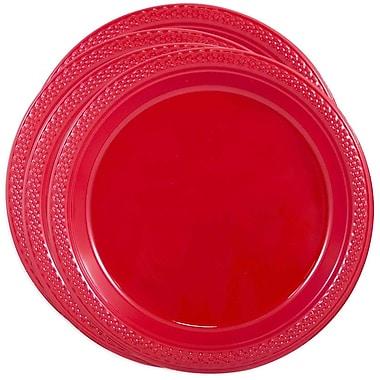 JAM Paper - Assiettes rondes en plastique, petit, 7 po, rouge, 4 paquets de 20 (7255320666G)