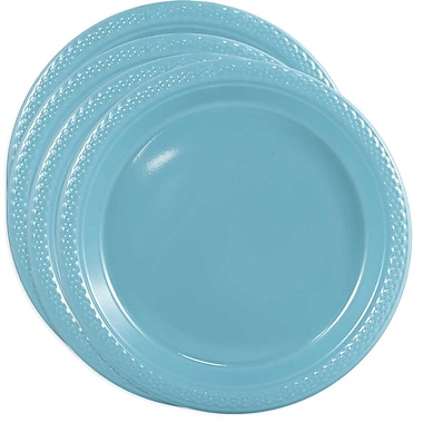 JAM Paper® Round Plastic Plates, Small, 7 Inch, Sea Blue, 4 packs of 20 (7255320668g)