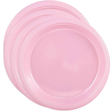 JAM Paper® Round Plastic Plates, Small, 7 Inch, Baby Pink, 4 packs of 20 (7255320670g)