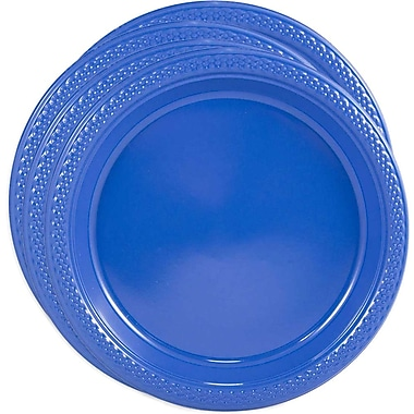 JAM Paper® Round Plastic Plates, Small, 7 Inch, Blue, 4 packs of 20 (7255320674g)