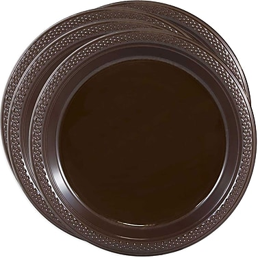 JAM Paper® Round Plastic Plates, Small, 7 Inch, Chocolate Brown, 4 packs of 20 (7255320676g)