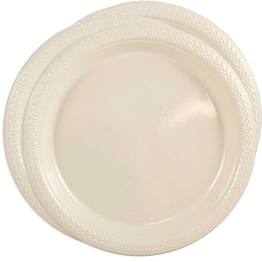 JAM Paper® Round Plastic Plates, Medium, 9 Inch, Ivory, 3 packs of 20 (9255320683g)