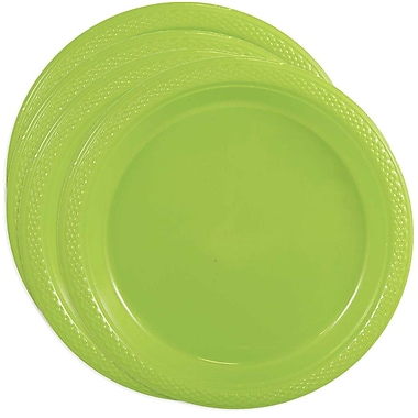 JAM Paper® Round Plastic Plates, Small, 7 Inch, Lime Green, 4 packs of 20 (7255320684g)