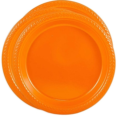 JAM Paper® Round Plastic Plates, Medium, 9 Inch, Orange, 3 packs of 20 (9255320687g)