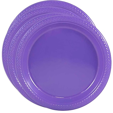 JAM Paper® Round Plastic Plates, Small, 7 Inch, Purple, 4 packs of 20 (7255320688g)