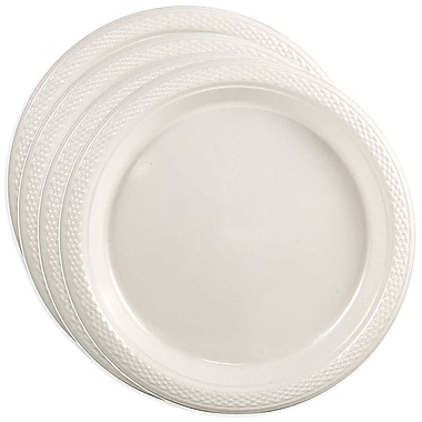 JAM Paper® Round Plastic Plates, Small, 7 Inch, White, 4 packs of 20 (7255320690g)