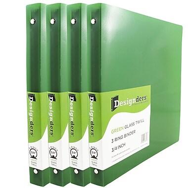 JAM PaperMD – Cartable à 3 anneaux Designders, 3/4 po, vert, 4/paquet