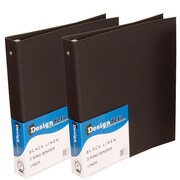 JAM Paper® Premium Linen Textured 3 Ring Binders, 1 Inch, Black, 2/Pack (751Lblg)