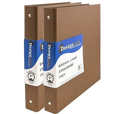 JAM Paper® Premium Linen Textured 3 Ring Binders, 1 Inch, Brown, 2/Pack (751Lbrg)