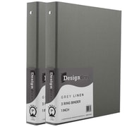 JAM Paper® Premium Linen Textured 3 Ring Binders, 1 Inch, Grey, 2/Pack (751Lgyg)