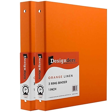 JAM Paper® Premium Linen Textured 3 Ring Binders, 1 Inch, Orange, 2/Pack (751Lorg)