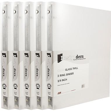 JAM PaperMD – Reliures en plastique à trois anneaux, 3/4 po, transparent, 5/pqt