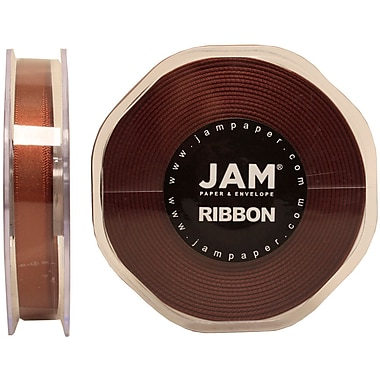 JAM Paper® Double Faced Satin Ribbon, .38 Inch Wide x 25 Yards, Chocolate Brown, 2/Pack (803SAchb25g)