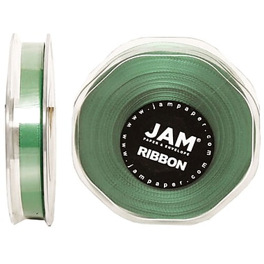 JAM Paper® Double Faced Satin Ribbon, .38 Inch Wide x 25 Yards, Emerald Green, 2/Pack (803SAemgr25g)