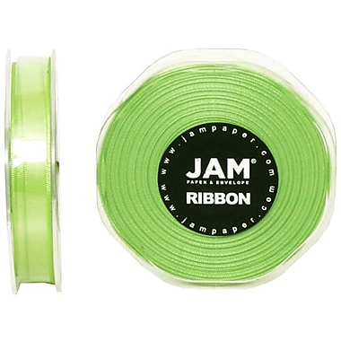 JAM Paper® Double Faced Satin Ribbon, .38 Inch Wide x 25 Yards, Lime Green, 2/Pack (803SAligr25g)