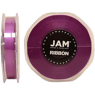 JAM Paper® Double Faced Satin Ribbon, .38 Inch Wide x 25 Yards, Purple, 2/Pack (803SApu25g)