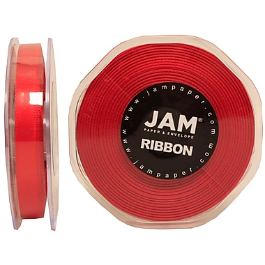 JAM Paper® Double Faced Satin Ribbon, .38 Inch Wide x 25 Yards, Red, 2/Pack (803SAre25g)