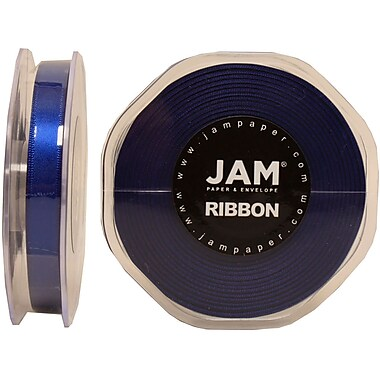 JAM Paper® Double Faced Satin Ribbon, .38 Inch Wide x 25 Yards, Royal Blue, 2/Pack (803SArobu25g)