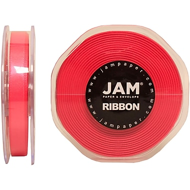 JAM Paper® Double Faced Satin Ribbon, .38 Inch Wide x 25 Yards, Shocking Pink, 2/Pack (803SAshpi25g)