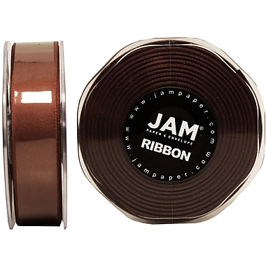 JAM Paper® Double Faced Satin Ribbon, .88 Inch Wide x 25 Yards, Chocolate Brown, 2/Pack (807SAchb25g)