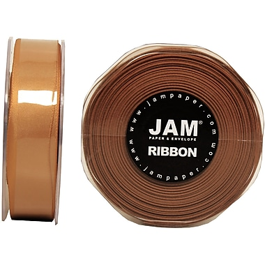 JAM Paper® Double Faced Satin Ribbon, .88 Inch Wide x 25 Yards, Gold, 2/Pack (807SAgo25g)