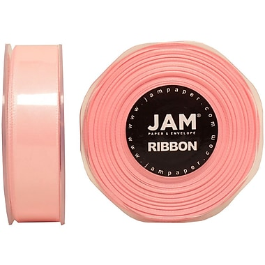 JAM Paper® Double Faced Satin Ribbon, .88 Inch Wide x 25 Yards, Light Pink, 2/Pack (807SAltpi25g)