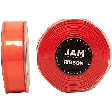 JAM Paper® Double Faced Satin Ribbon, .88 Inch Wide x 25 Yards, Orange, 2/Pack (807SAor25g)