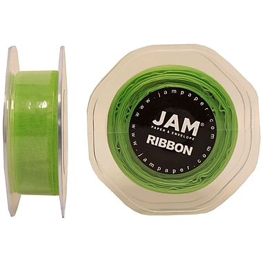 JAM Paper® Sheer Organza Ribbon, .88 Inch Wide x 25 Yards, Apple Green, 2/Pack (807SHappgr25g)