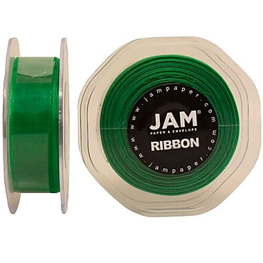 JAM Paper® Sheer Organza Ribbon, .88 Inch Wide x 25 Yards, Emerald Green, 2/Pack (807SHemgr25g)