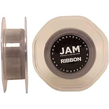 JAM Paper® Sheer Organza Ribbon, .88 Inch Wide x 25 Yards, Silver, 2/Pack (807SHsi25g)
