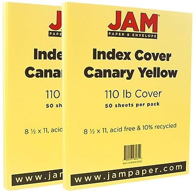 JAM Paper® Vellum Bristol Index Cardstock, 8.5 x 11, 110lb Canary Yellow, 2 packs of 50 (816917020g)