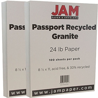 JAM Paper® Recycled Paper, 8.5 x 11, 24lb Granite Grey, 2 packs of 100 (871702g)
