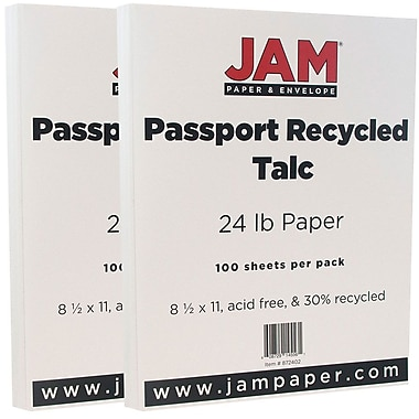 JAM Paper Recycled Paper, 8.5 x 11, 24lb Talc White, 2 packs of 100 (872402g)