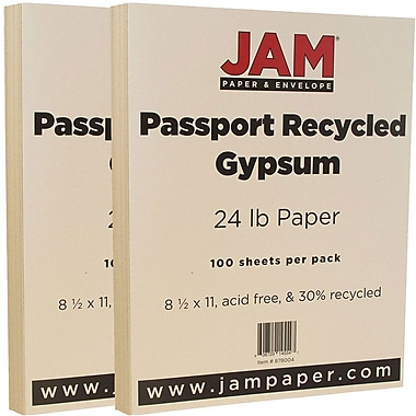 JAM Paper® Recycled Paper, 8.5 x 11, 24lb Gypsum Ivory, 2 packs of 100 (878004g)