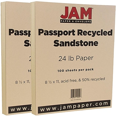 JAM Paper® Recycled Paper, 8.5 x 11, 24lb Sandstone Ivory, 2 packs of 100 (878006g)