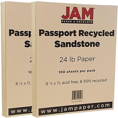 JAM PaperMD – Papier recyclé passeport, 8 1/2 x 11 po, grès, 200/paquet