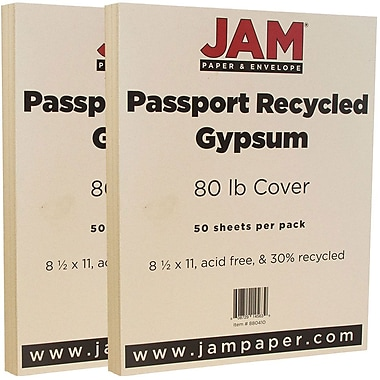 JAM Paper® Recycled Cardstock, 8.5 x 11, 80lb Gypsum Ivory, 2 packs of 50 (880410g)