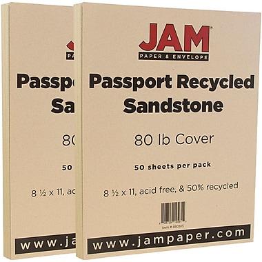 JAM PaperMD – Papier cartonné recyclé Passport, 8 1/2 x 11 po, grès, paquet de 100