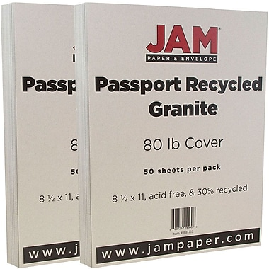 JAM Paper® Recycled Cardstock, 8.5 x 11, 80lb Granite Grey, 2 packs of 50 (881715g)