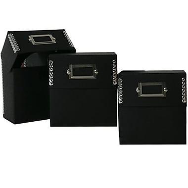 JAM Paper® CD Box, 5 x 5.5 x 2.5, Black Kraft with Metal Edge, 3/Pack (9063 202g)