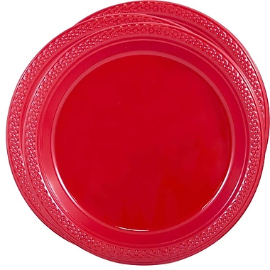 JAM Paper® Round Plastic Plates, Medium, 9 Inch, Red, 3 packs of 20 (9255320667g)
