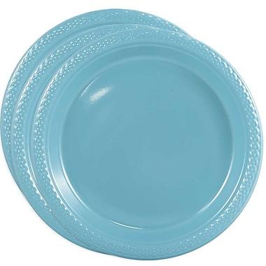 JAM Paper - Assiettes rondes en plastique, moyen, 9 po, bleu de mer, 3 paquets de 20 (9255320669G)