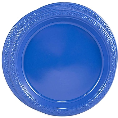 JAM Paper® Round Plastic Plates, Medium, 9 Inch, Blue, 3 packs of 20 (9255320675g)
