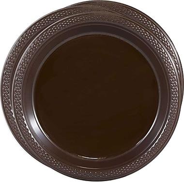 JAM Paper® Round Plastic Plates, Medium, 9 Inch, Chocolate Brown, 3 packs of 20 (9255320677g)