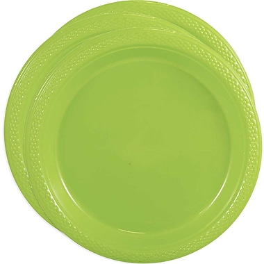 JAM Paper® Round Plastic Plates, Medium, 9 Inch, Lime Green, 3 packs of 20 (9255320685g)