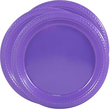 JAM Paper® Round Plastic Plates, Medium, 9 Inch, Purple, 3 packs of 20 (9255320689g)