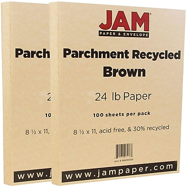 JAM Paper® Parchment Paper, 8.5 x 11, 24lb Brown Recycled, 2 packs of 100 (96600300g)