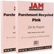 JAM Paper® Parchment Paper, 8.5 x 11, 24lb Pink Recycled, 2 packs of 100 (96600900g)